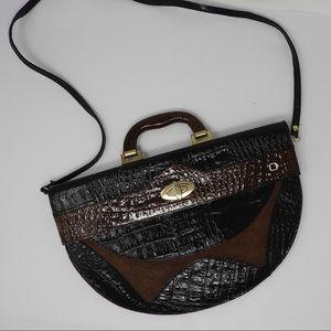 Vintage Large Brown Croc Leather Handbag Purse
